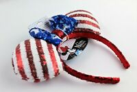 Disney Minnie Mouse Ears 4th Of July Americana Headband Hat Red White Blue! NWT!