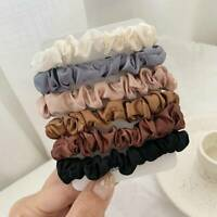 6PC Girls Elastic Hair Bands Silk Satin Scrunchie Hair Ties Ponytail Holder Rope