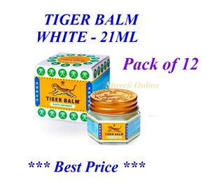 Pack of 12 Jars x 21ML TIGER BALM WHITE Relief from Muscular & Body pain - 21ml