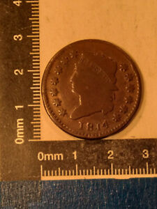 """1814 1 CENT COIN USA """"CAPPED BUST-CLASSIC HEAD CENT"""" VG KM-39 *"""