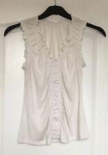 """M&S"" Women's Top, Size 12, White, Sleeveless, V Neck, Gathered detail, Stretch"