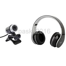 Web Cam USB2.0 12.0MP HD Laptop Webcam with Mic+Bluetooth Wireless Headphone
