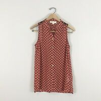 Michael Kors womens small Sleeveless Blouse Top Red Black Button Front