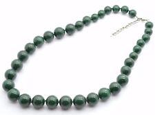 Aventurine Quartz Bead Necklace Hand Knotted Dark Green Stone Silver Heart Clasp