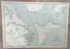 China Gulf Of Pecheli Yellow Sea 1863 by Weller Antique Engraved Map 19e Century