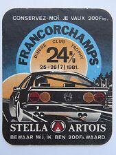 BEER COASTER ~*~ 1981 STELLA ARTOIS Diners Club Trophy French Racing ~*~ BELGIUM