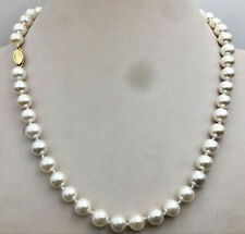"""AAA 8MM WHITE SOUTH SEA SHELL PEARL BEADS NECKLACE 18"""""""