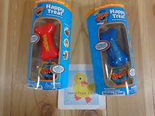 Zhu Happy's HAPPY TREAT Set of 2 Red WIGGLE Blue CHASE Dog Bones Interactive Toy