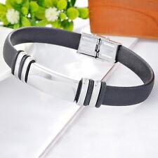 1 Bracelet Chaîne Acier Inoxydable Réglable Faux Cuir Pour Homme Mode 23.5cm