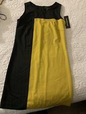 Sharango Professional Office Dress Black & Mustard Color Block Size 6 Brand New