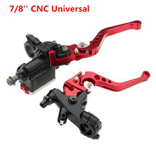 1 Pair Red 7/8'' CNC Universal Motorcycle Brake Clutch Master Cylinder Lever Set