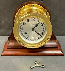 Chelsea Shipstrike Mantel Clock With Stand And Key, Runs Well, NR