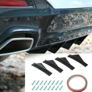 4x Carbon Fiber Style Rear Lower Bumper Diffuser Fin Spoiler Lip Wing Splitter
