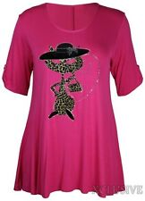 Womens Plus Size Lady Leopard Cat With Hat & Bag Sequin 3/4 Sleeve Tunics 14-28