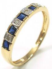 SYJEWELRYEMPIRE 10KT YELLOW GOLD NATURAL SAPPHIRE & DIAMOND BAND RING SIZ7 R1081
