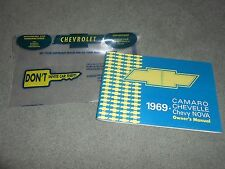 1969 CHEVROLET CAMARO CHEVELLE NOVA OWNER MANUAL with '69 CHEVY BAG HIGH QUALITY