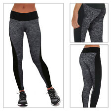 Womens Yoga Fitness Leggings Running Gym Stretch Sports Pants Trousers Exercise L UK Size 12 Black & Gray