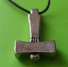 Viking Uppsala Mjölnir Thor's Hammer Pewter Pendant Necklace For Protection