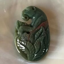 Finely Carved Large Green Cougar Mountain Lion in Leaves Stone Pendant Charm –
