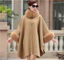 Elegant double face avec épais 100% laine fourrure de renard châle/poncho/manteau/cape camel