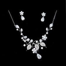 Fashion Bridal Zirconia Platinum Plated Simulated Diamond Necklace Earrings Set