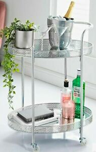 DECORATIVE DRINKS TROLLEY WITH MIRRORED SHELVES METAL FRAMES WITH CASTORS SILVER