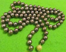 14k Tahitian Genuine Peacock Black Brown Round Pearl Knotted Necklace 33'', 8mm