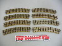 AJ671-0,5# 8x Märklin H0/00 Gleisstück gebogen M-Gleis f. 3600/800 Vorkrieg