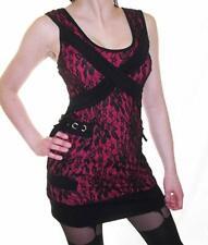 "Vixxsin Gothic Goth Salon Dress (Size Small/28"" Chest) Pink Black"