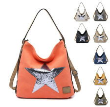 Woman Lady Medium Canvas Hobo Shoulder handbag - Shining Star Solo Design