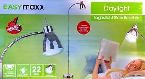 Easymaxx Standleuchte Tageslicht Flexibel 22 LEDs Verchromt Augenschonend NEU