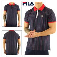 Fila Mens BB1 Classic Retro Heritage Vintage Striped Pinstripe Polo Sports Shirt
