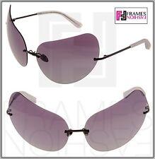 LINDA FARROW TODD LYNN Cat Eye Metal TL5 Rimless Purple Black Sunglasses