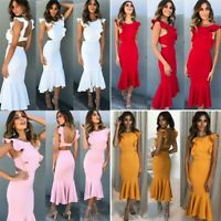 Women's Ruffle Backless Wrap Bodycon Dresses Ladies Summer Holiday Evening Dress