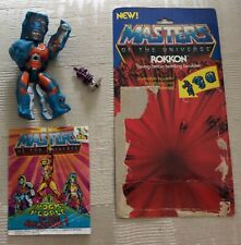 "Vintage 1985 MOTU Masters of the Universe ""Rokkon"" Figure & Rock People Comic"