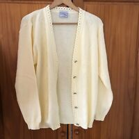 Vintage Lemon Yellow Knit Buttoned Cardigan Size 16 / 18 Retro Granny Chic