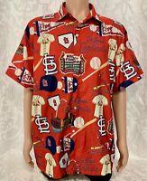 VTG St Louis Cardinals Hawaiian Red Camp Shirt MLB Baseball Button Down Size XL
