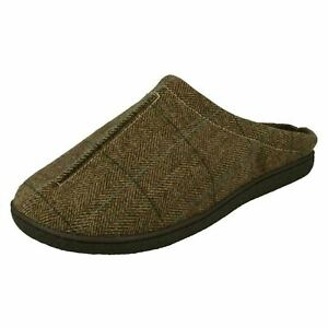 Mens Cushion Walk Flexible Comfort Slip On Mule Slipper Faux Fur Lined Gary