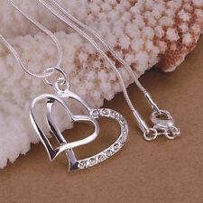 SILBERKETTE Herz Anhänger 925 Sterling Silber Halskette Damen Schmuck Kette NEU