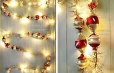 Christmas light-up garland with vintage baubles, tinsel & warm white LED lights