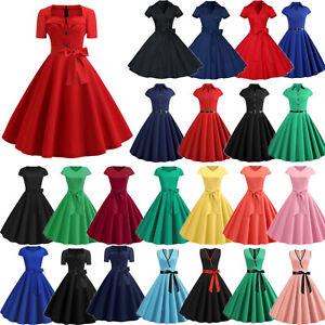 50er Retro Damenkleid Jahre Rockabilly Petticoat Vintage Partykleid Abendkleid