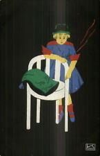 Art Deco Great Color Contrast Child & Chair c1910 German Postcard