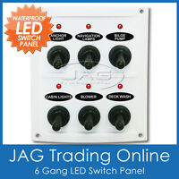 6 GANG WHITE LED TOGGLE SWITCH PANEL with Fuses - Waterproof/Marine/Boat/Caravan