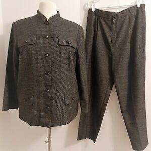 Vtg CASUAL CORNER Size 18 Gray Brown 2 Pc Business Career Suit Jacket & Pants