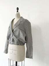 â• 80s Vintage Gingham Plaid Cropped Jacket : avant garde dress minimalist 90s