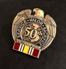 50TH ANNIVERSARY VIETNAM WAR NATIONAL DEFENSE Military Vet Hat Pin