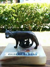 Ricordo di Roma Small Bronze Figurine Roman she-wolf, Romulus and Remus