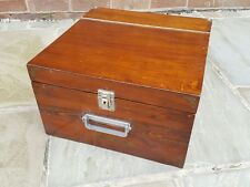 Solid Mahogany antique vintage large document storage box carry case travel