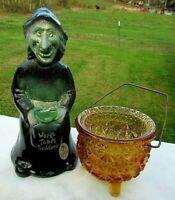 "Fenton 2004 Halloween Witch ""LUNA"" Swarovski Green Eyes 6.5""H w/ Amber Cauldron"