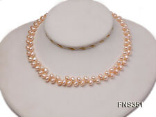 Pearl Single Strand Necklace Beautiful 5.5-7mm Pink Wheat-ear-shaped Freshwater